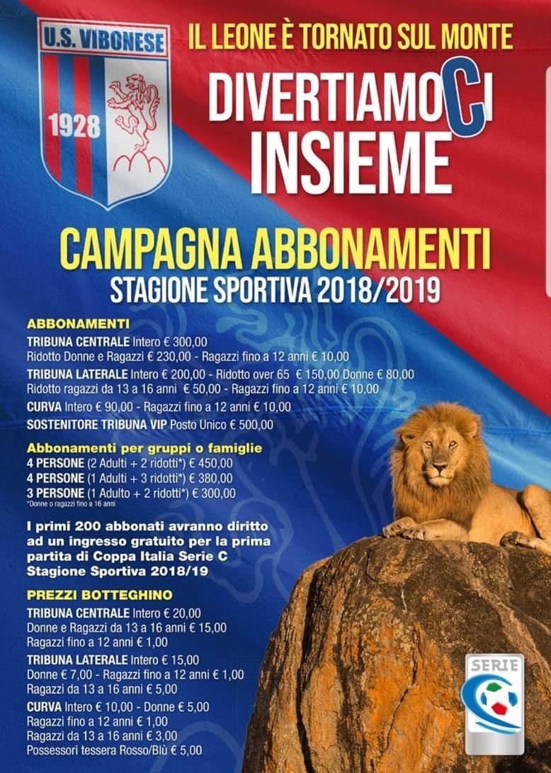 """DivertiamoCi Insieme: al via la campagna abbonamenti """"Il Leone è tornato sul monte"""" immagine 8233 US Vibonese Calcio"""
