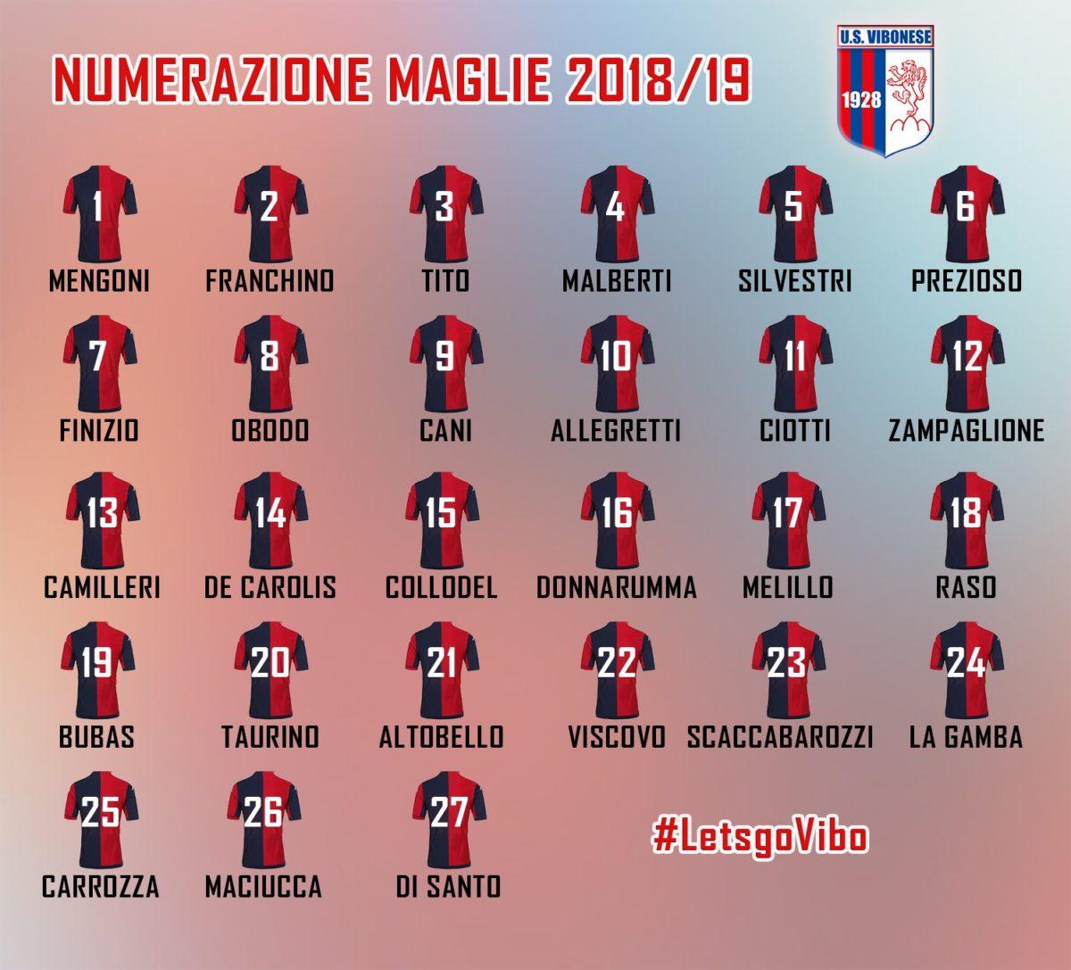Numerazione maglie stagione 2018/19 immagine 9833 US Vibonese Calcio