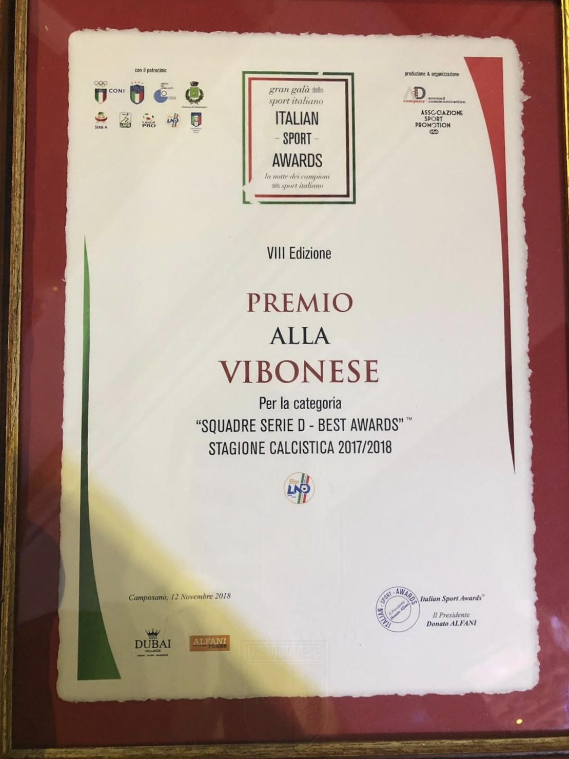 Italian Sport Awards: ritirato il premio come migliore squadra di Serie D 2017-2018 immagine 10397 US Vibonese Calcio