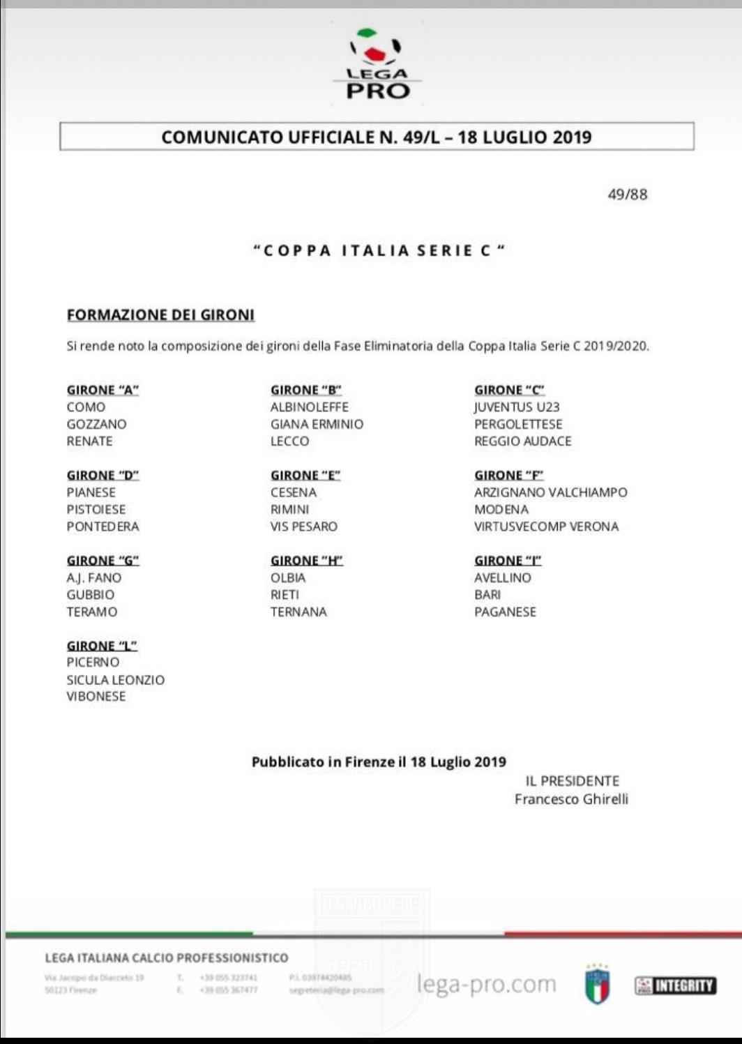 LA NUOVA STAGIONE | Ecco i gironi di Coppa Italia immagine 12230 US Vibonese Calcio