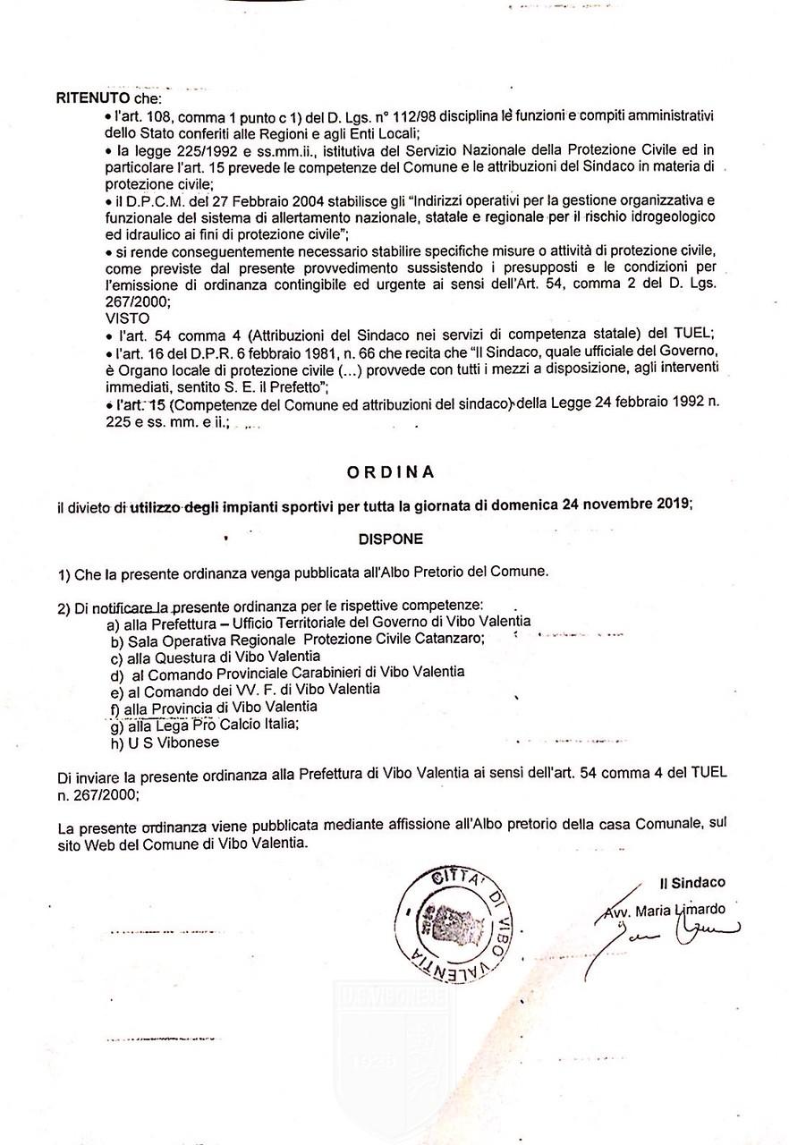 Il Sindaco ordina la chiusura degli impianti sportivi causa maltempo, Vibonese - Catanzaro rinviata immagine 13864 US Vibonese Calcio