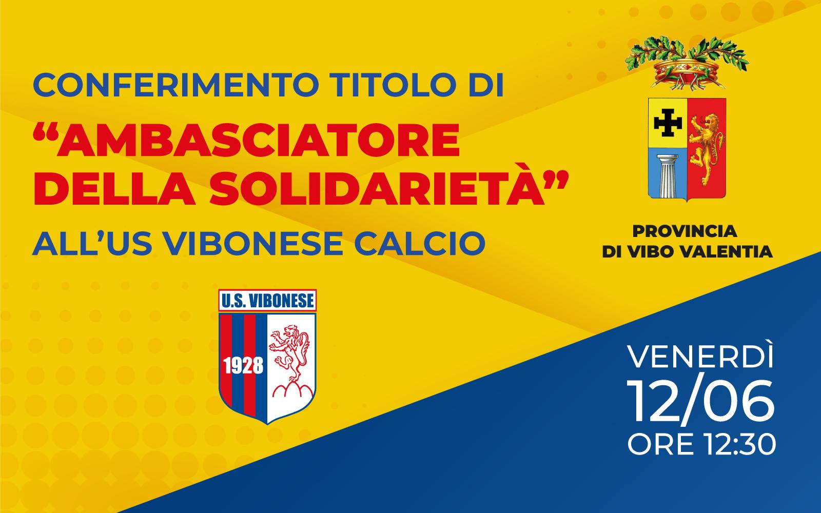 AMBASCIATRICE DELLA SOLIDARIETÀ | Onorificenza per la Vibonese immagine 14818 US Vibonese Calcio